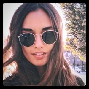 Ray-Ban Gold Round Metal G-15 Rb3447 Sunglasses